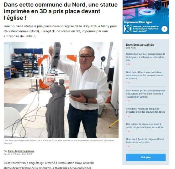 Une statue en 3D, imprimée par une entreprise de Bailleul